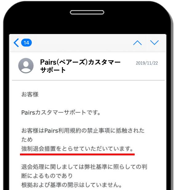 強制退会通知メール