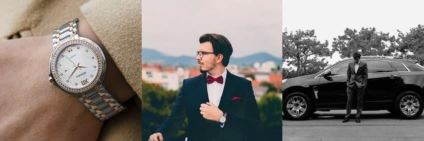 高級車,高級時計,高級スーツを身に着けている男性